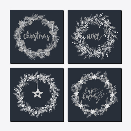 Cute hipster wreaths with different words and icon Illustration