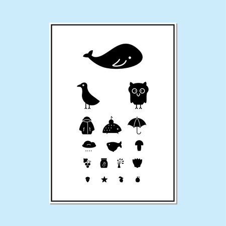 Eyes test chart with animals