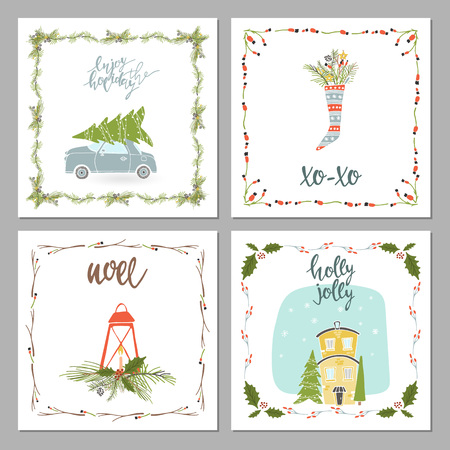 Square winter holidays greeting cards with New Year and christmas, Christmas ornaments, typographic design.
