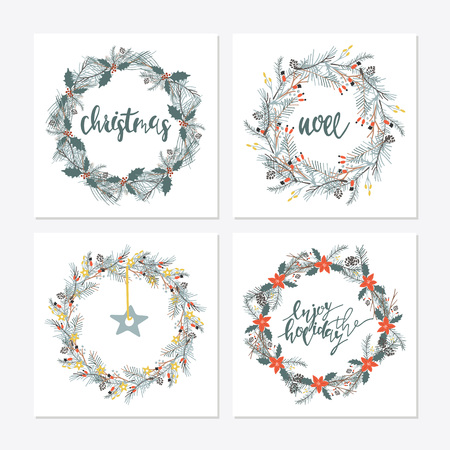 Elegant calligraphic lettering phrases with wreaths. big collection of hand written christmas phrases and quotes
