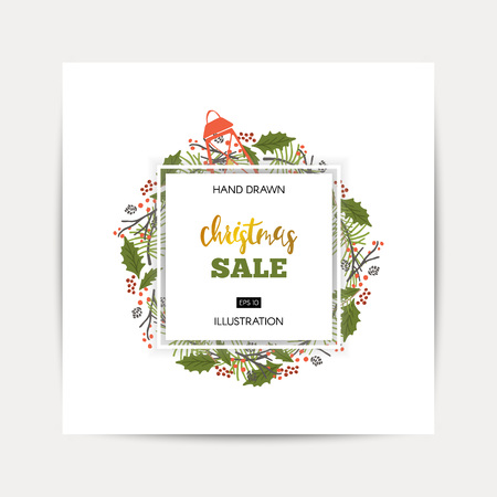 Winter shopping sale flyer template with lettering in frame on white background Trendy cute background. Poster, card, label, banner design.