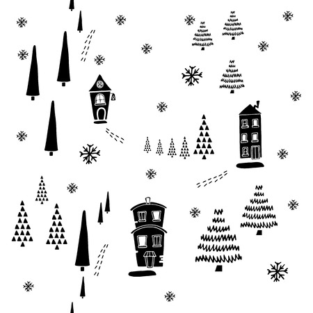 Christmas seamless pattern. They can be used to decorate your print designs: packing design, cards, wrapping paper textile: t-shirts, towels, cushions web designs: blogs, banners, backgrounds. Banco de Imagens - 94315306