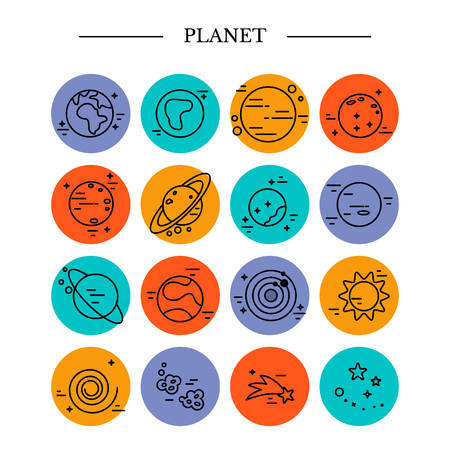 Planets Solar System in linear style.
