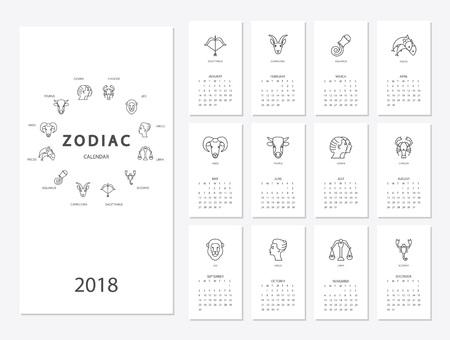 2018 calendar with zodiac design. Illustration