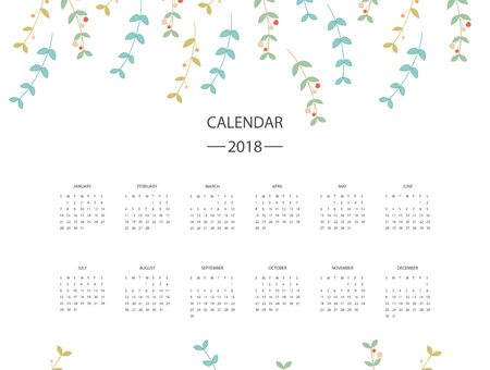 2018 calendar with colorful design.