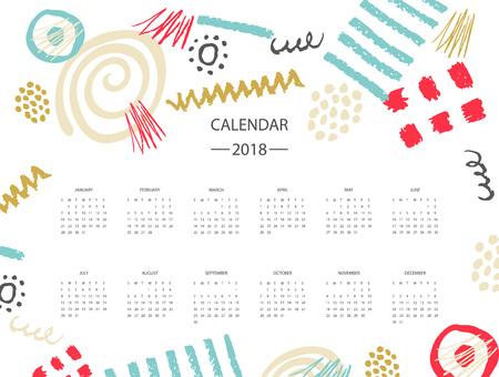 2018 new year calendar illustration design vector Çizim