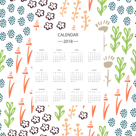 Vector of 2018 new year calendar with plants. Holiday event planner. Week Starts Sunday