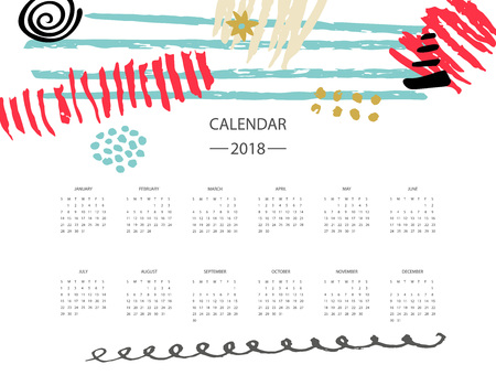 2018 new year calendar with colorful design.