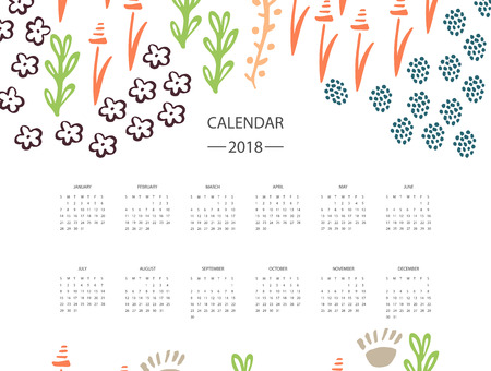 2018 new year calendar with floral design. Illustration