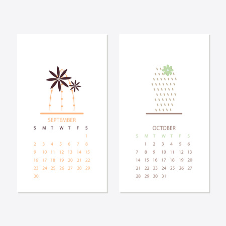 2018 new year calendar with plants and trees design.