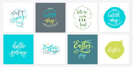 Hand sketch easter and spring text design set Çizim