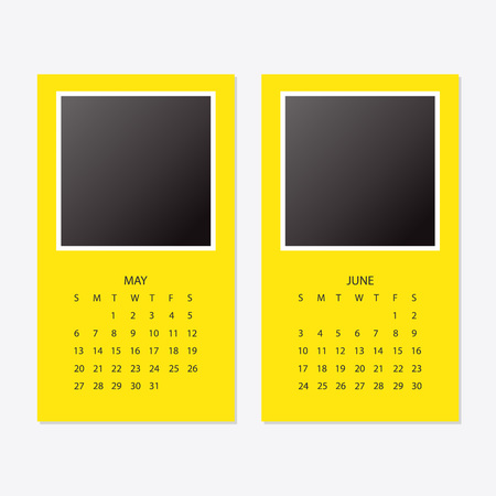 2018 new year yellow calendar. Illustration
