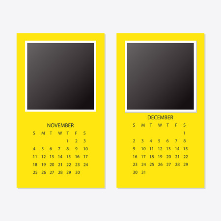 2018 new year calendar with photo frame. Illustration