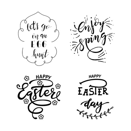 Hand sketched Happy Easter text Çizim