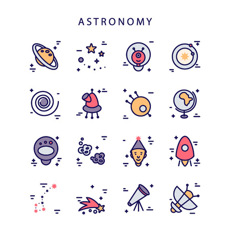 Set of astronomy icons