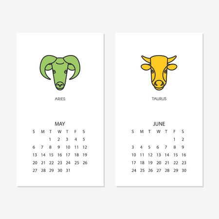 2018 new year calendar template for may and june Vector illustration. Stock Illustratie