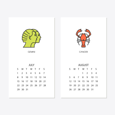 2018 new year calendar template for july and august Vector illustration. Illusztráció