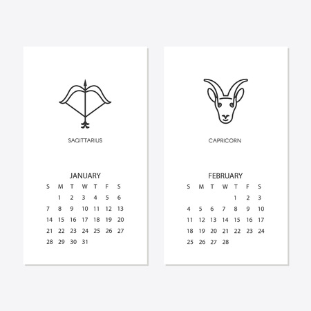 2018 new year calendar template for january and february Vector illustration. Stock Vector - 99658750