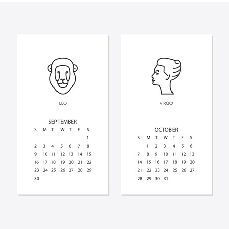 Calendar  Template With Horoscope Signs Zodiac Symbols Vector