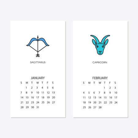 Calendar 2018 template with horoscope signs zodiac symbols. Vector illustration. Illustration