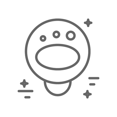 Astronaut floating in space - logo made in trendy line style vector. Illustration