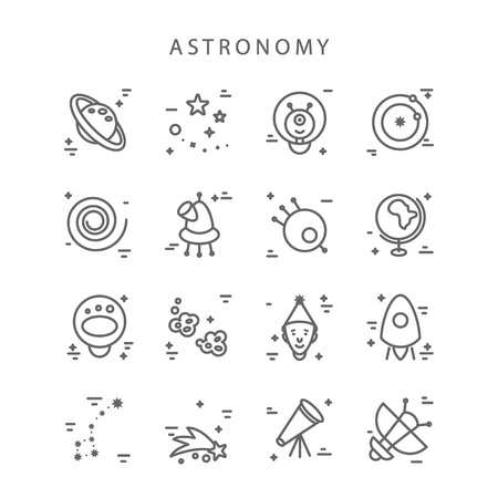 astronomy linear style icons