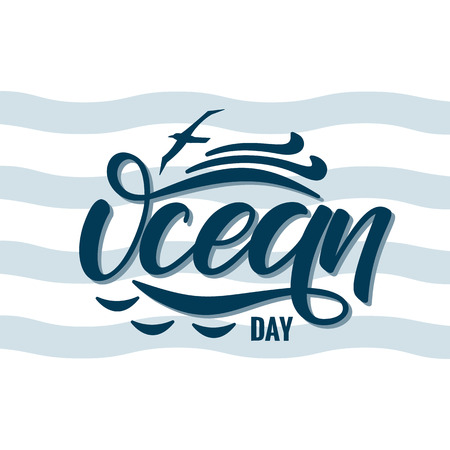 Hand drawn World Oceans Day lettering