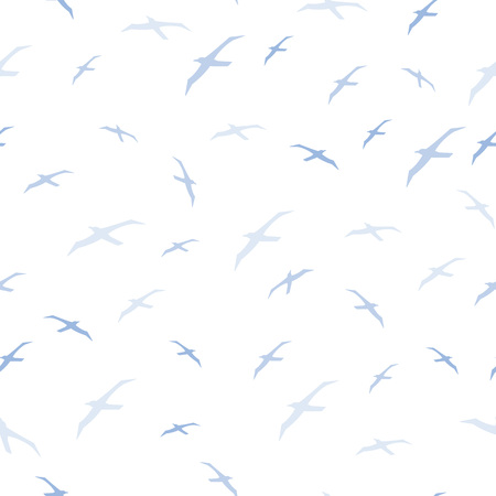 Silhouettes seagulls. Seamless pattern.