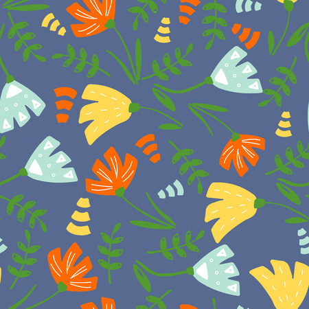 Trendy Floral pattern in the many kind of flowers. Botanical Motifs scattered random. Seamless vector texture. Printing with in hand drawn style. Printing with in hand drawn style on white background. Archivio Fotografico - 102332399