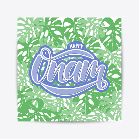 Hand drawn Happy Onam festival typography lettering poster. Celebration quote on textured background for postcard, icon, logo, badge. Illustration