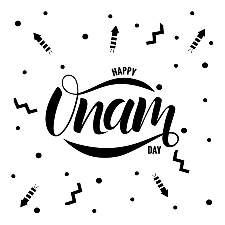 Happy Onam festival typography lettering Stock Vector - 104014994