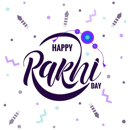 Rakshi typography lettering poster Vector Illustration
