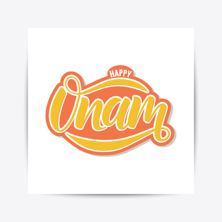 Happy Onam festival typography lettering Ilustrace