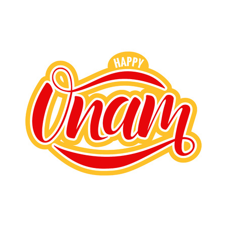 Happy Onam festival typography lettering Stock Illustratie
