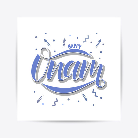 Happy Onam festival typography lettering Stock Photo