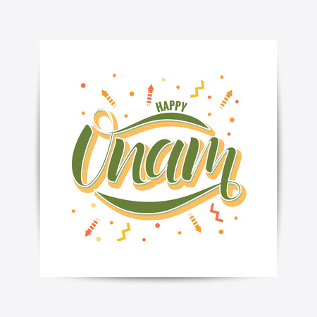 Happy Onam festival typography lettering Illustration