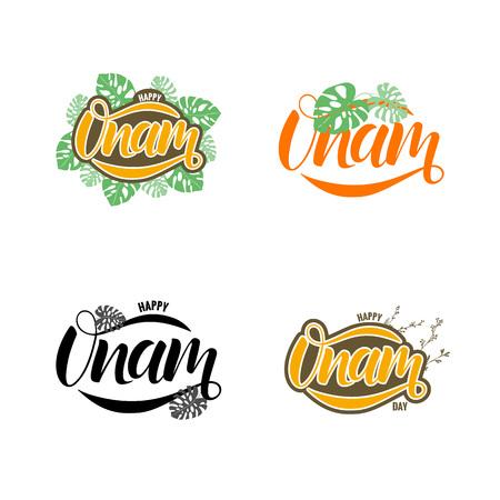 Happy Onam festival typography lettering Stock Vector - 103696477