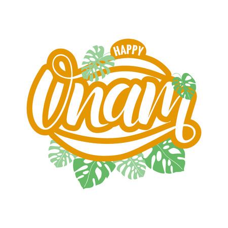 Happy Onam festival typography lettering Ilustração