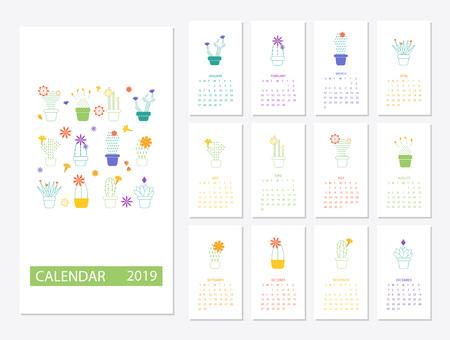 2019 Calendar template design 写真素材 - 103766612