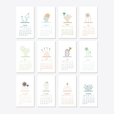 Diseño de plantilla de calendario 2019
