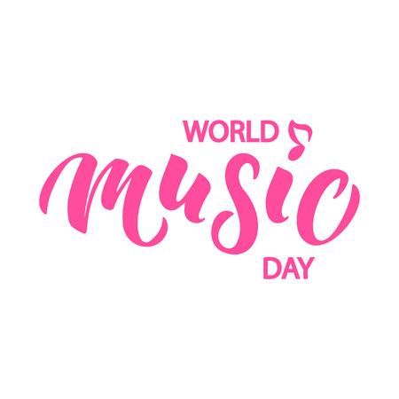 Wereldmuziekdag typografie belettering