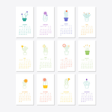 Calendar 2019.Calendar with succulents and cactus plants.