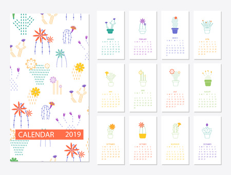 Calendar 2019.Calendar with succulents and cactus plants.