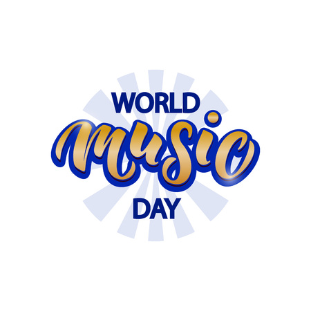 Hand drawn World Music Day typography lettering poster. Celebration quote on textured background for postcard, icon, logo, badge, flyer, placard, greeting, banner.