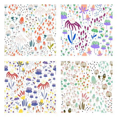 Trendy set Floral pattern in the many kind of flowers. Botanical Motifs scattered random. Seamless vector texture. Printing with in hand drawn style. Printing with in hand drawn style on white background.