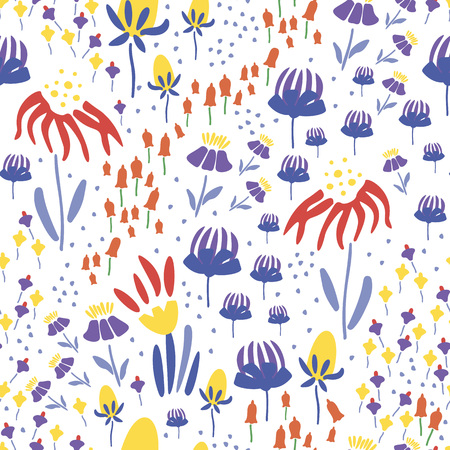 Trendy Floral pattern in the many kind of flowers. Botanical Motifs scattered random. Seamless vector texture. Printing with in hand drawn style. Printing with in hand drawn style on white background. Archivio Fotografico - 115071539
