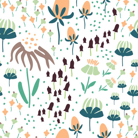 Trendy Floral pattern in the many kind of flowers. Botanical Motifs scattered random. Seamless vector texture. Printing with in hand drawn style. Printing with in hand drawn style on white background. Archivio Fotografico - 115071540