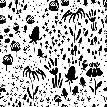 Trendy Floral pattern in the many kind of flowers. Botanical Motifs scattered random. Seamless vector texture. Printing with in hand drawn style. Printing with in hand drawn style on white background. Archivio Fotografico - 115071542