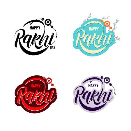 Hand drawn Rakshi typography lettering poster. Raksha Bandhan. Celebration quote on textured background for postcard, icon, logo, badge.
