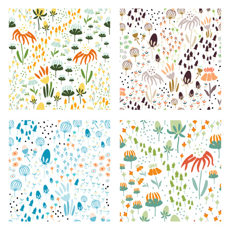 Trendy set Floral seamless pattern in the many kind of flowers. Botanical Motifs scattered random. Printing with in hand drawn style. Printing with in hand drawn style on white background. Archivio Fotografico - 115008104